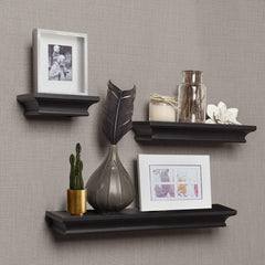 AHDECOR Floating Shelves Grey Wash, Ledge Wall Shelf for Home Decor with 4