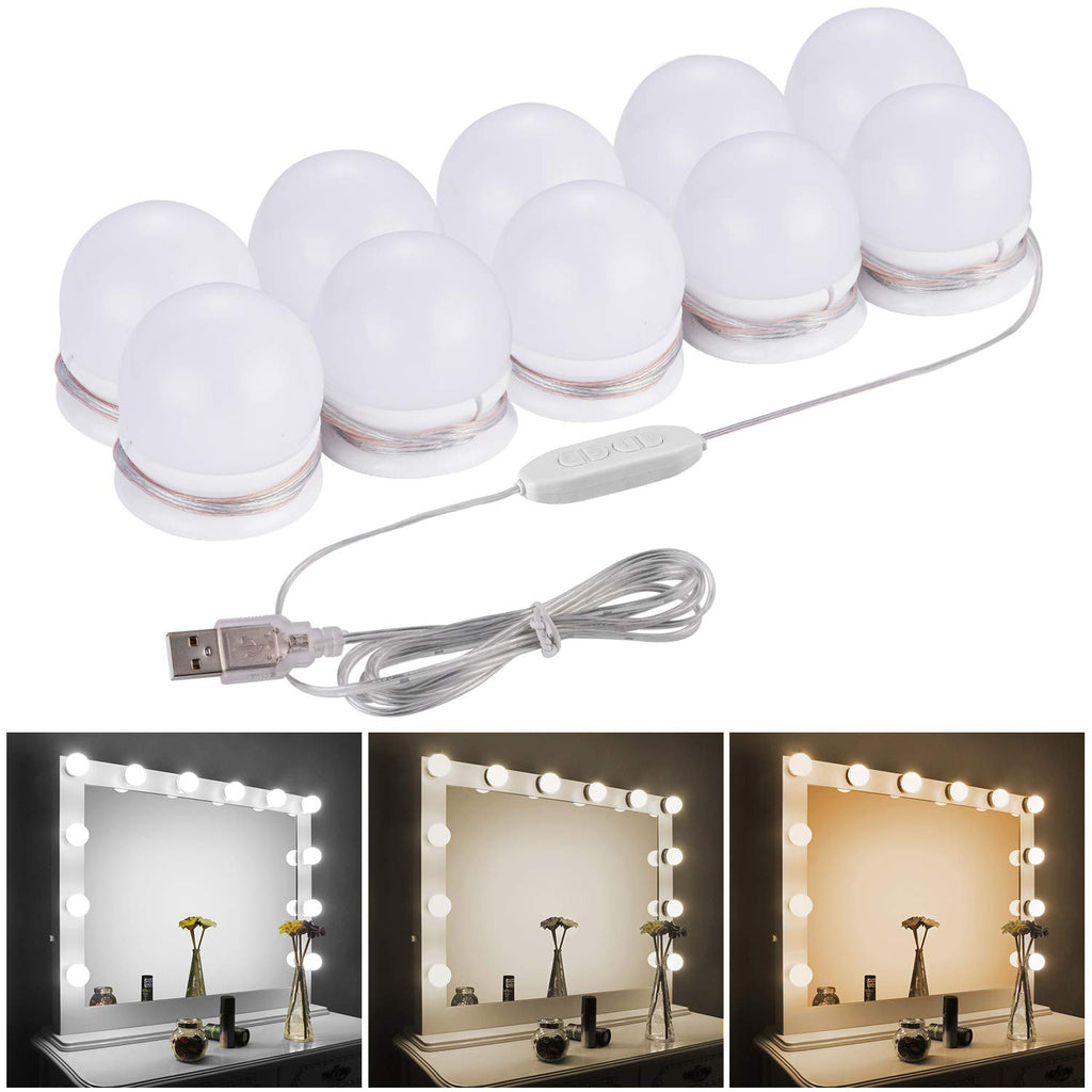 LED Vanity Mirror Lights Kit - Camel Home Upgraded 3 Dimmable Color with10 Led Light Bulbs for Makeup Dressing Table, Hollywood Style Lighting Fixture
