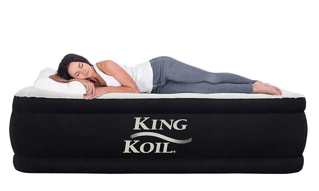King Koil QUEEN SIZE Luxury Raised Air Mattress - Best Inflatable Airbed with Built-in Pump - Elevated Raised Air Mattress Quilt Top & 1-year GUARANTE