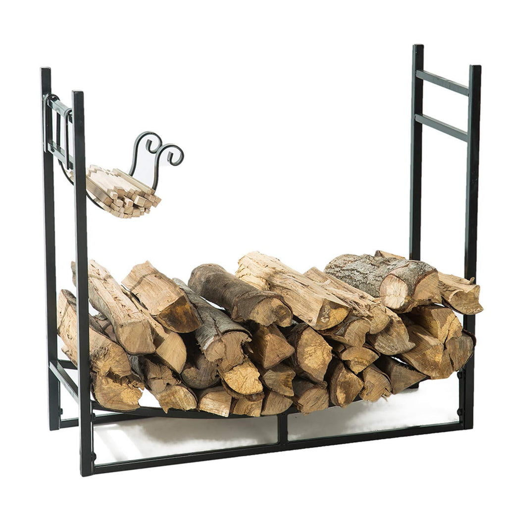 LITHER New Year Deals Indoor/Outdoor 3 Feet Firewood Log Rack with Kindling Holder, Fireplace Wood Storage, 30 Inch Tall