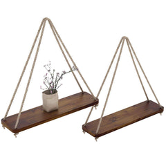 Rustic Set of 2 Wooden Floating Shelves with String – Farmhouse Hanging Shelves for Living Room Wall – Small Kitchen Shelves with Rope &nd