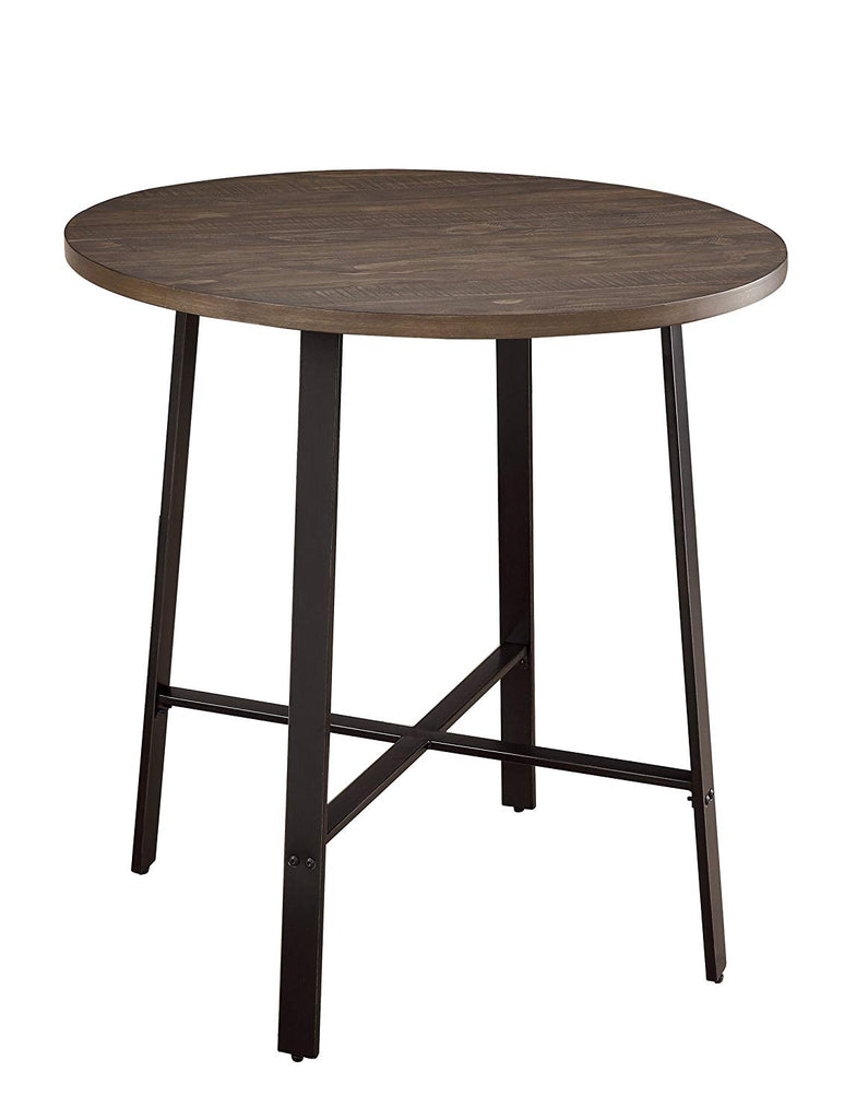 "Homelegance Chevre 36"" Round Industrial Style Counter Height Table, Brown"