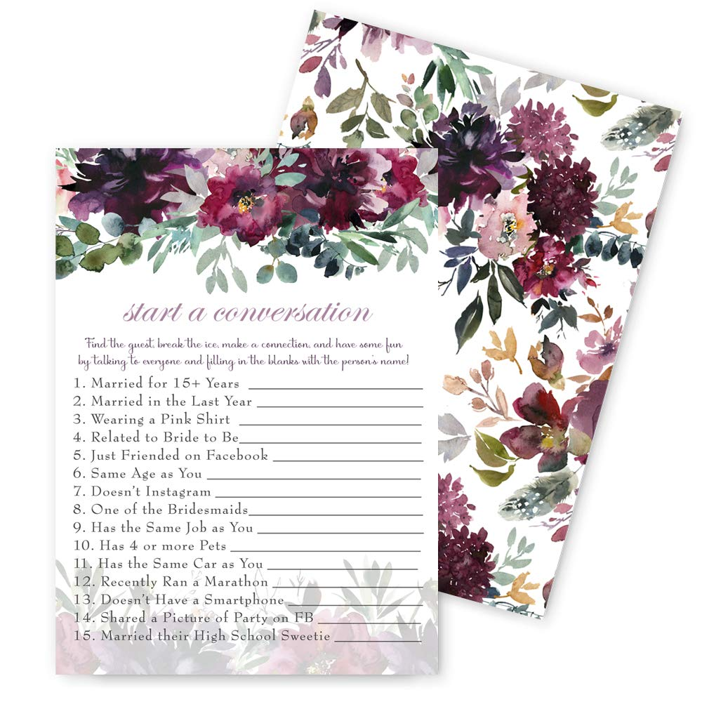 Shabby Floral Bridal Shower Games Find the Guest - 25 Pack