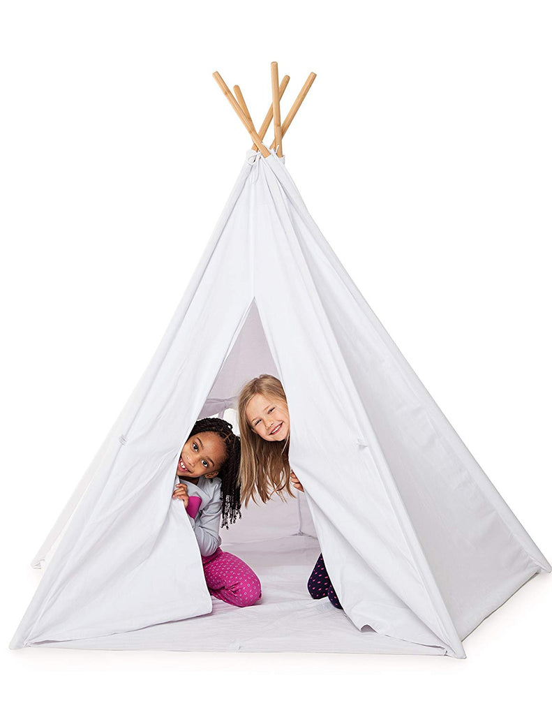 Bluenido Huge Luxury Teepee 100% Cotton Canvas! 5 Bamboo Poles Floor and Carrying CASE