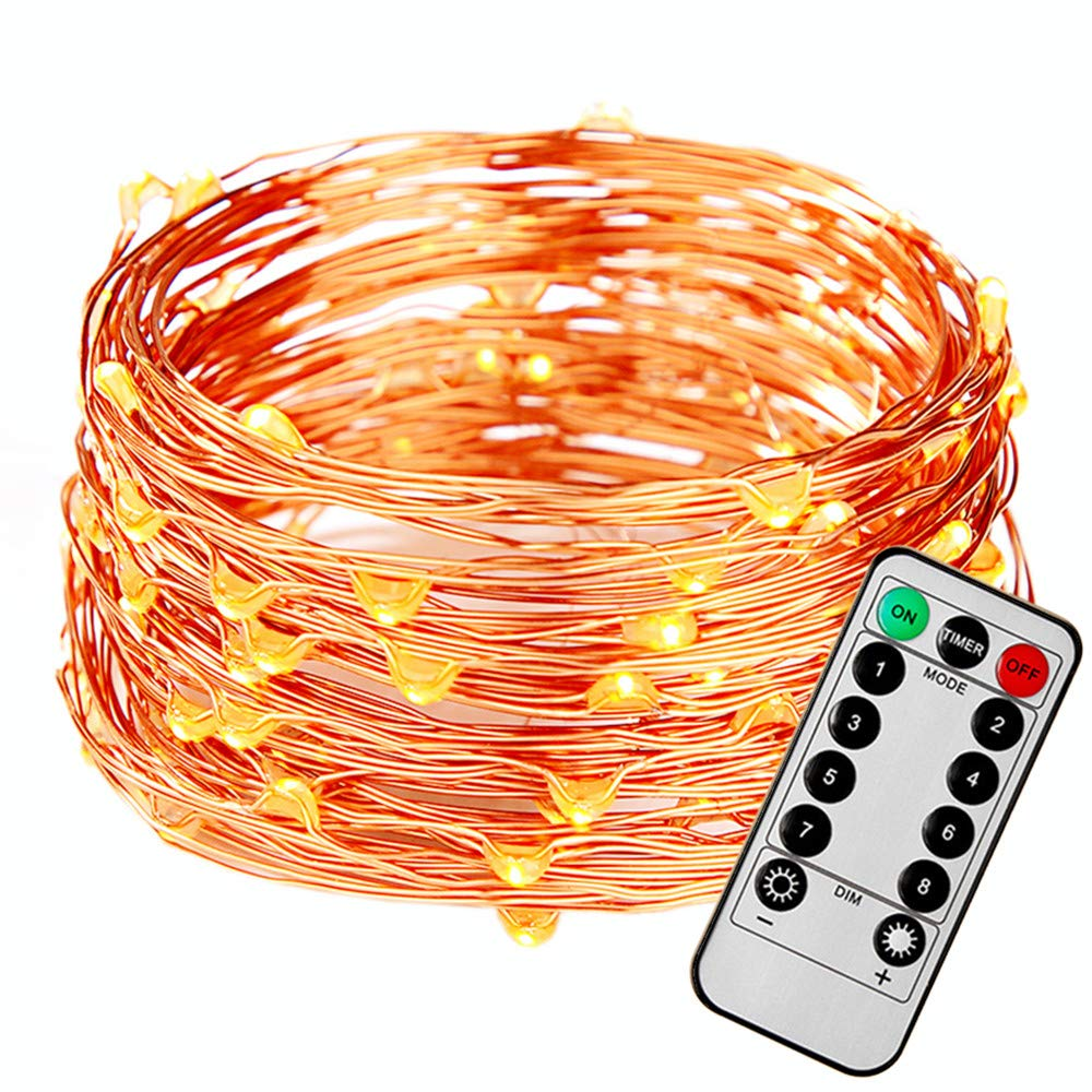 FASTDEER LED String Lights 50ft with 150 LEDs Remote Control Fairy Lights, Battery Operated, 8 Modes, Waterproof Outdoor & Indoor Decorative Lights fo