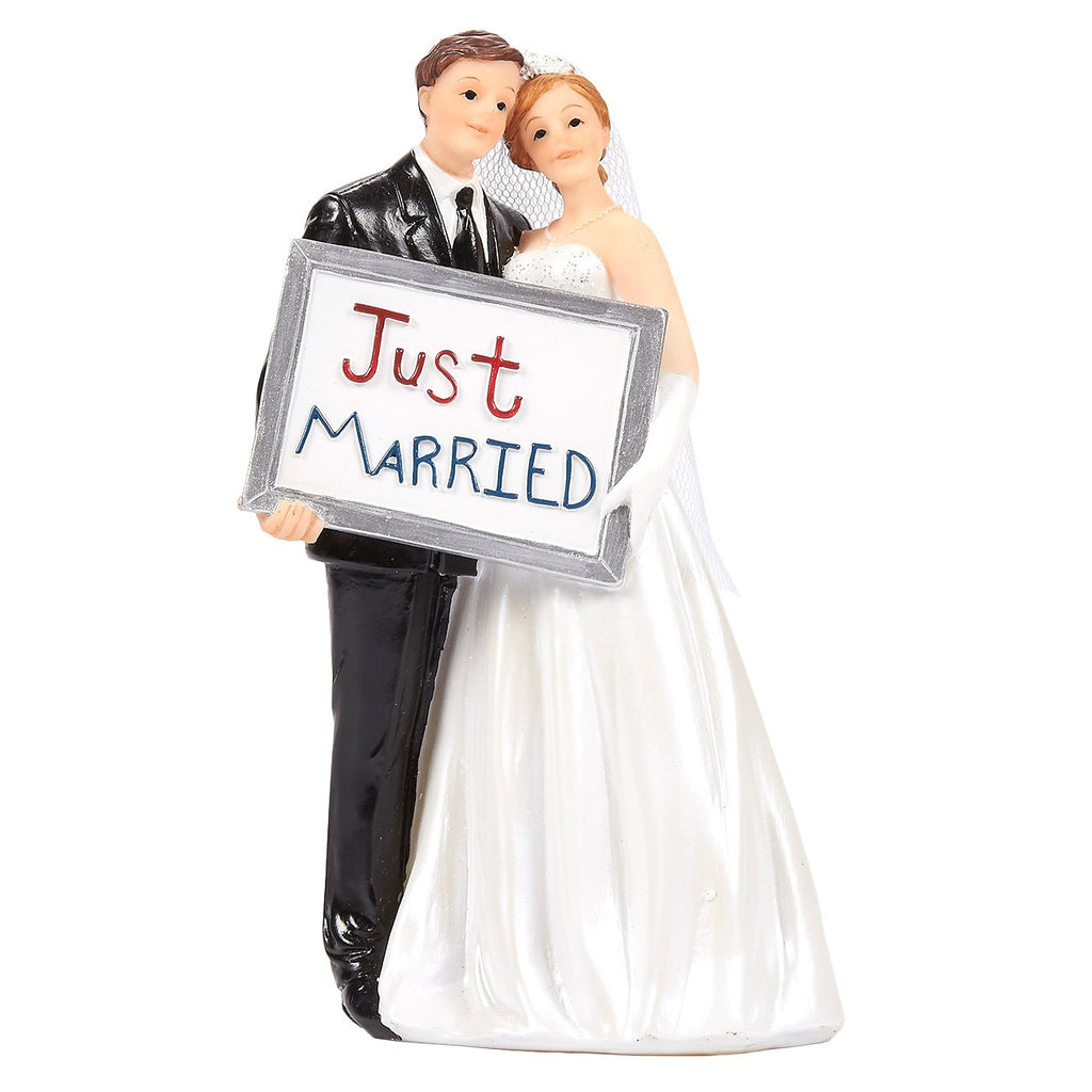 Juvale Wedding Cake Toppers - Bride Groom Cake Topper Figurines Holding Just Married Board - Fun Cake Topper for Wedding, Decorations, and Gifts - 3.3