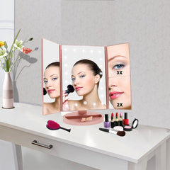 WEILY Lighted Makeup Mirror, Tri-fold Vanity Mirror with 1X/2X/3X Magnification Mirrors, 21 Natural LED Nights and Touch Screen, Chargeable Travel Cos