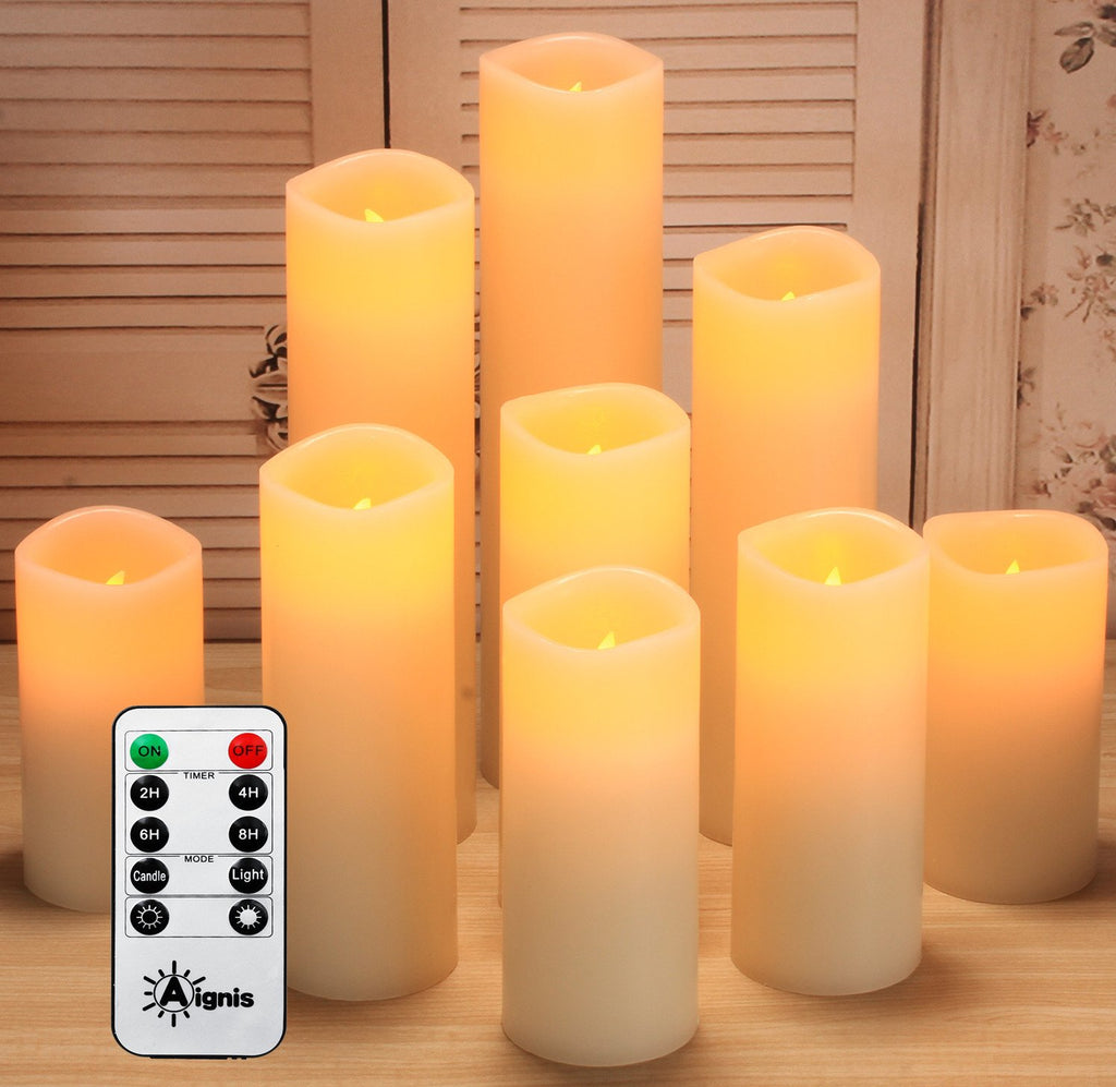 "Flameless Candles ,Battery Operated Candles Set of 9(D2.2""xH4""5""6""7""8""9)Led pillar candles Include 10-key Remote Timer and Cycling 24 Hours Timer"