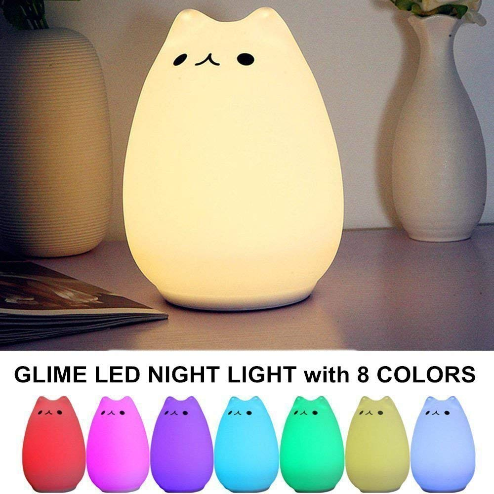 [2 Pack]GLIME LED Night Lights Silicone Cat Lamp with USB Charging Cable Chargable Eight Colors Baby Room Living Room Bedroom Gift Study