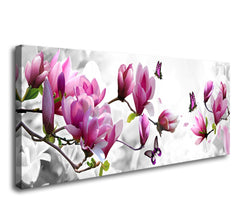 Cao Gen Decor Art-AH40233,Canvas Prints, Pink Flower 3 Panels Stretched Canvas Framed Wall Art