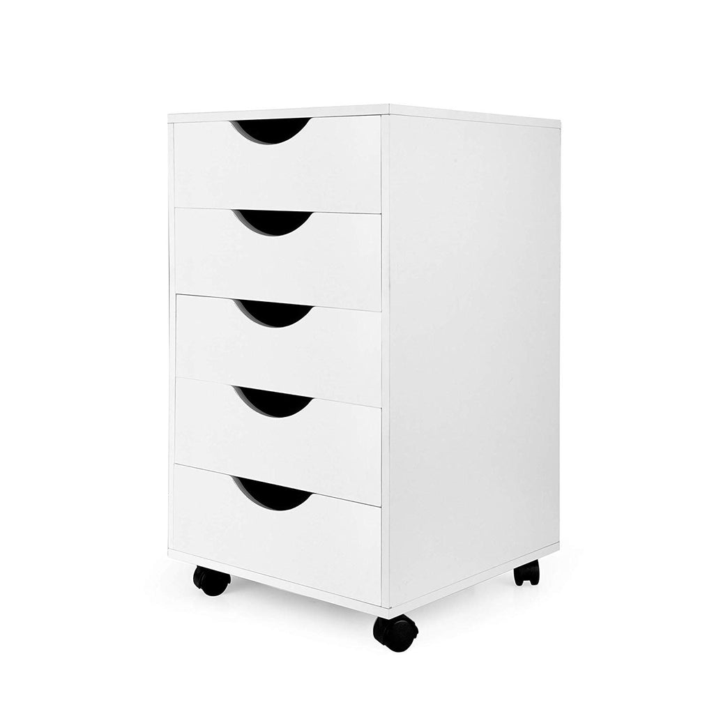 eMerit 5 Drawer Wood File Cabinet Roll Cart Drawer for Office Organization White