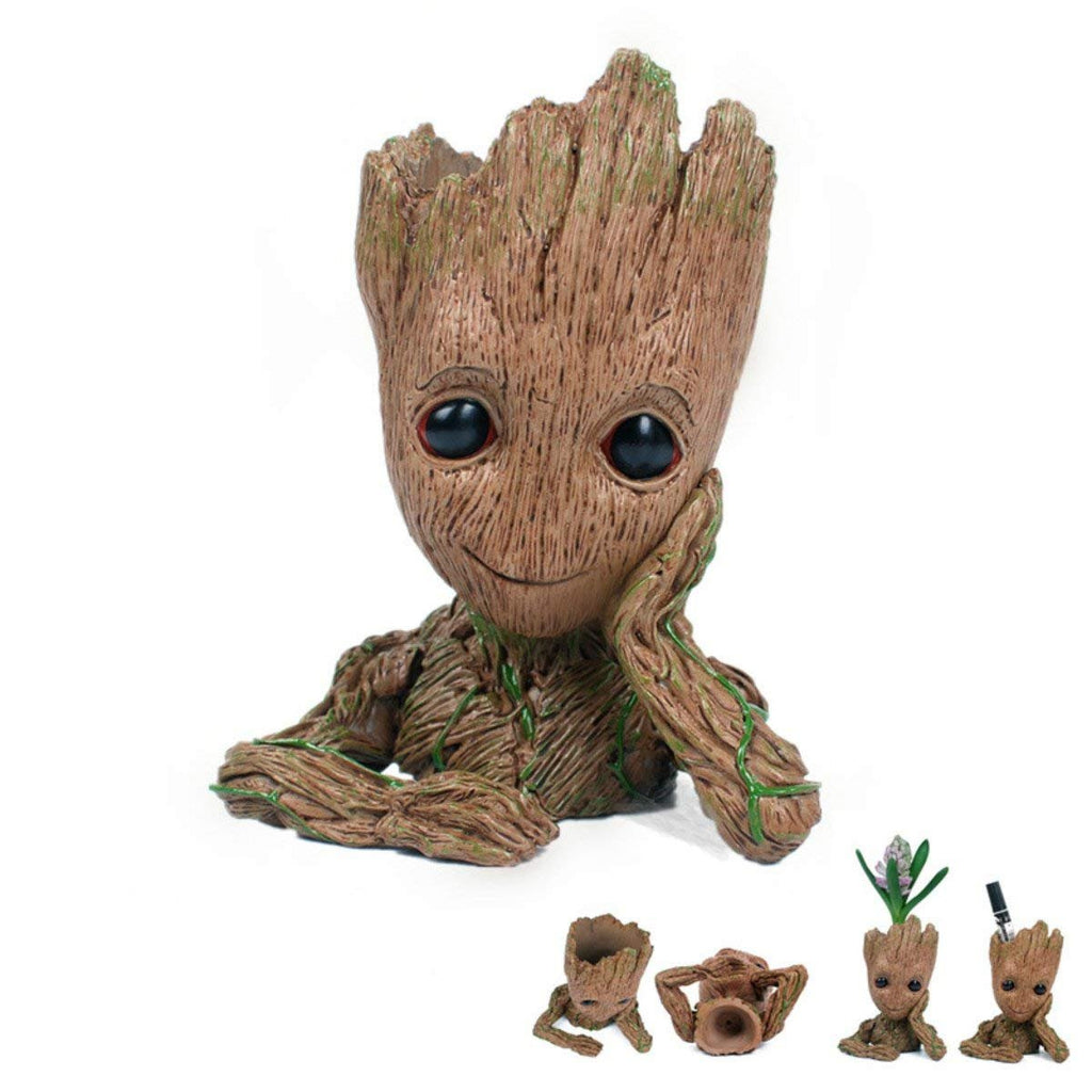 Multifunction Moive Baby Groot Planter Pen Container Guardians of The Galaxy Tree Man Flowerpot with Hole Action Figures Model Toy