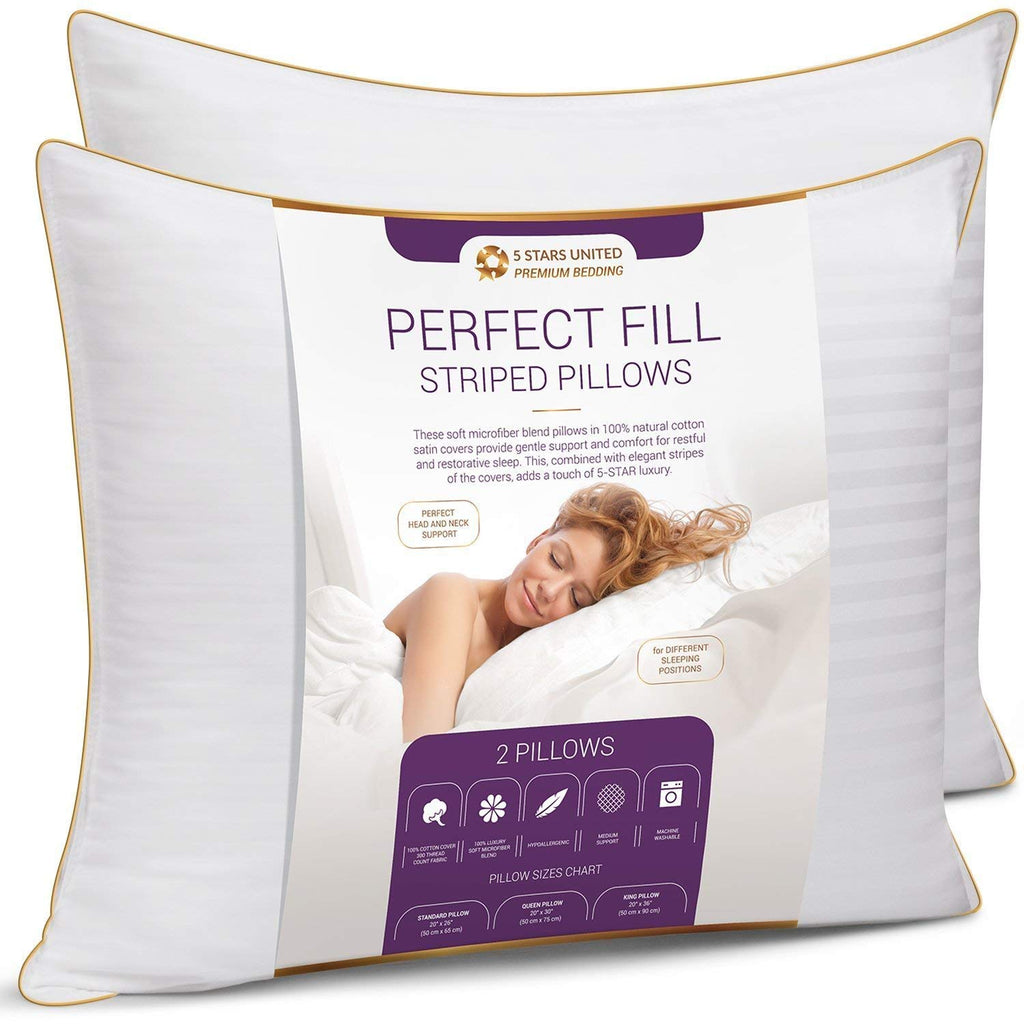 Queen Size Bed Pillows for Sleeping - 20x30, 2-Pack - Mid Loft - Soft Fiber Fill - Hypoallergenic - Stripe Cotton Covers - Best Alternative to Feather