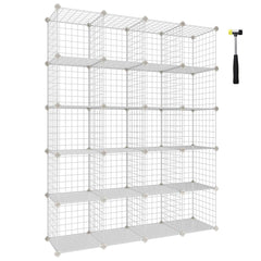 SONGMICS Wire Storage Cubes, 20-Cube Modular Rack, Storage Shelves, PP Plastic Shelf Liners Included, 48.4