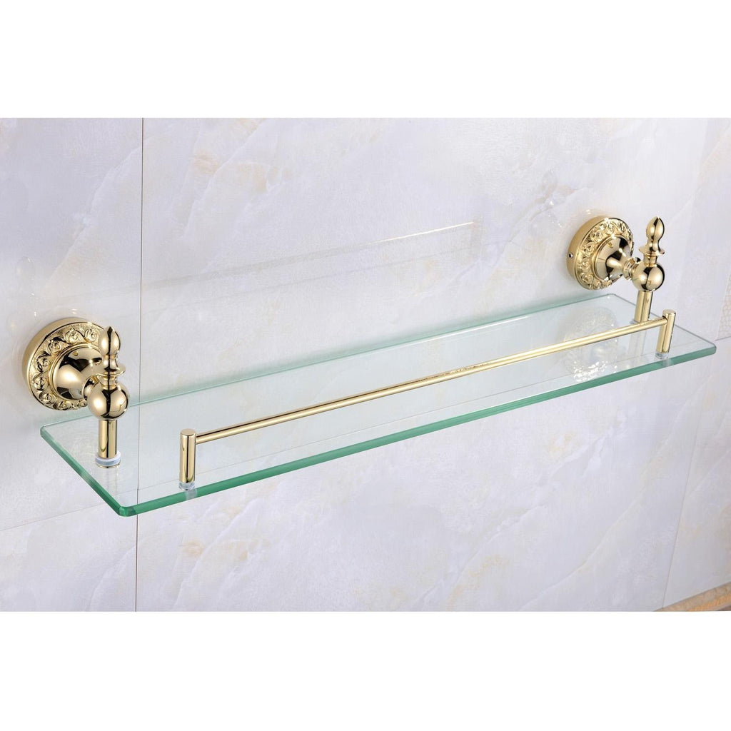 OUKU Wall Mount Bathroom Bath Shower Antique Inspired Ti-pvd Finish Solid Brass Material Glass Shelf Lavatory Accessories Tools and Improvement Wall M