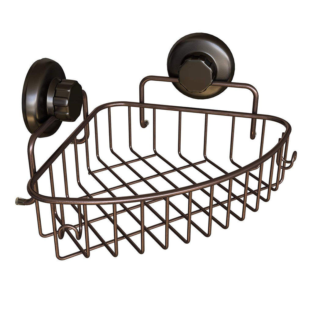 HASKO accessories Corner Shower Caddy with Suction Cup | 304 Stainless Steel | Adhesive 3M Stick Discs | Basket for Bathroom and Kitchen Storage (Bron