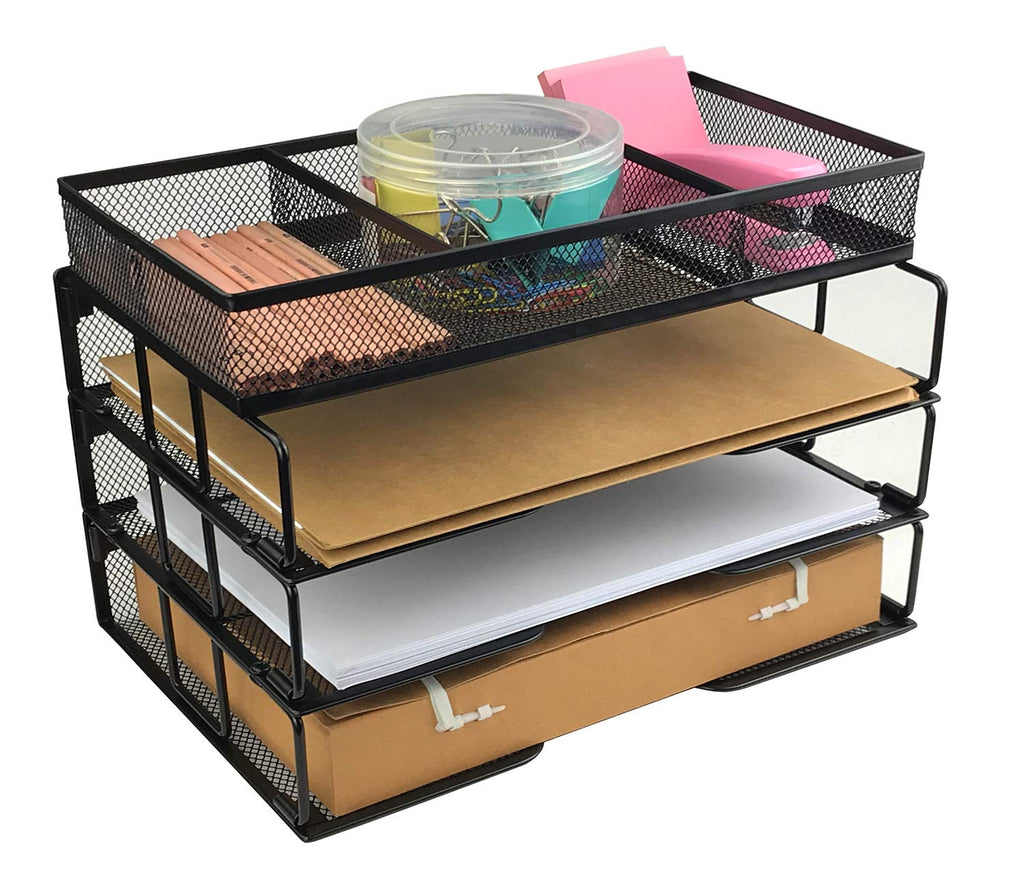 Besource Mesh 37-Tier Office Desktop File Organizer Stackable Desk Organizer  Letter Paper Tray with Compartment, Black