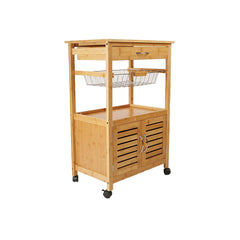 Mind Reader CUPTROLLBM-BRN 3 Tier Kitchen Cart Space-Saving Kitchen Trolley,  Utility Organizer Rack, Bamboo Brown