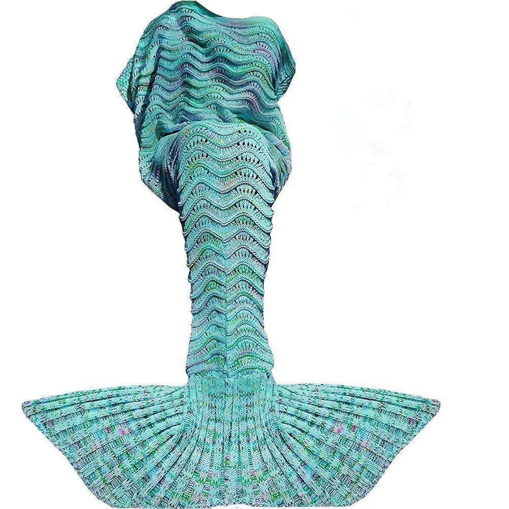 Fu Store Mermaid Tail Blanket Crochet Mermaid Blanket for Kids, Snowflake Super Soft All Seasons Sofa Sleeping Blanket, Cool Birthday Wedding Christma