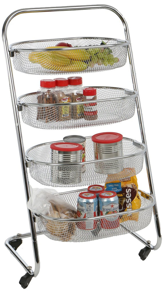 Mind Reader 4 Tier Rolling Kitchen Cart/Utility Cart, Silver