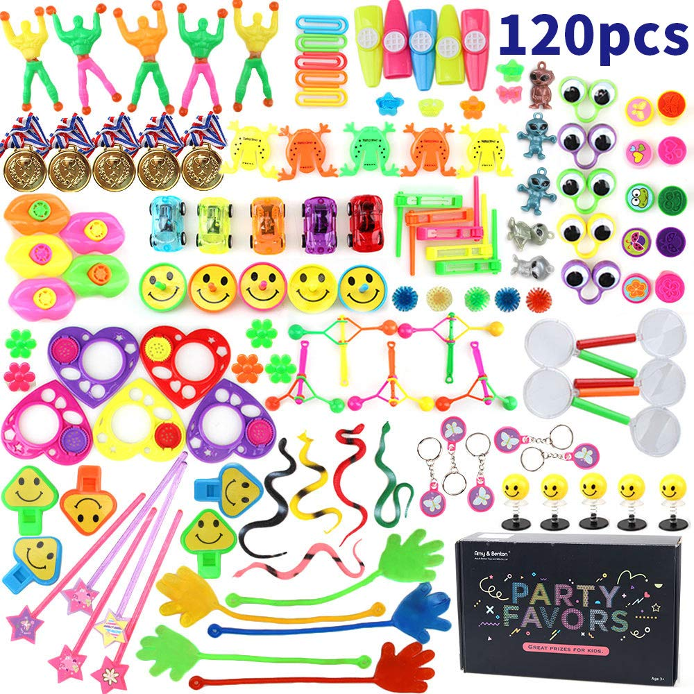 Amy&Benton 120PCS Treasure Box Prizes for Classroom, Kids Birthday Party Favors for Goodie Bag Fillers, Assorted Pinata Fillers, Bulk Party Toy Assort
