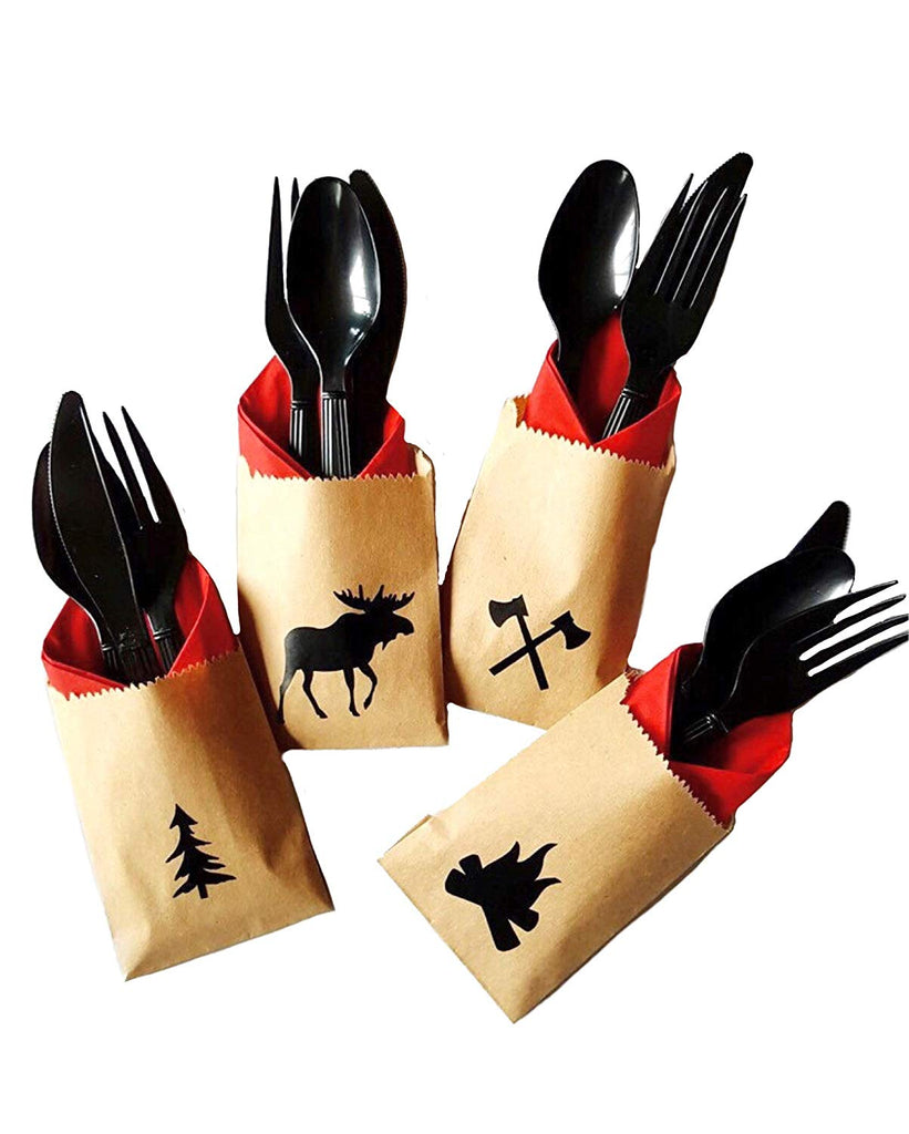 Lumberjack Cutlery Set - 24 Set Moose Tree Baby Shower Birthday Party Supplies