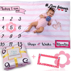 "Baby Monthly Milestone Blanket by Tiny Gifts – Large (60x40"") Wrinkle-Free Growth Photo Backdrop 