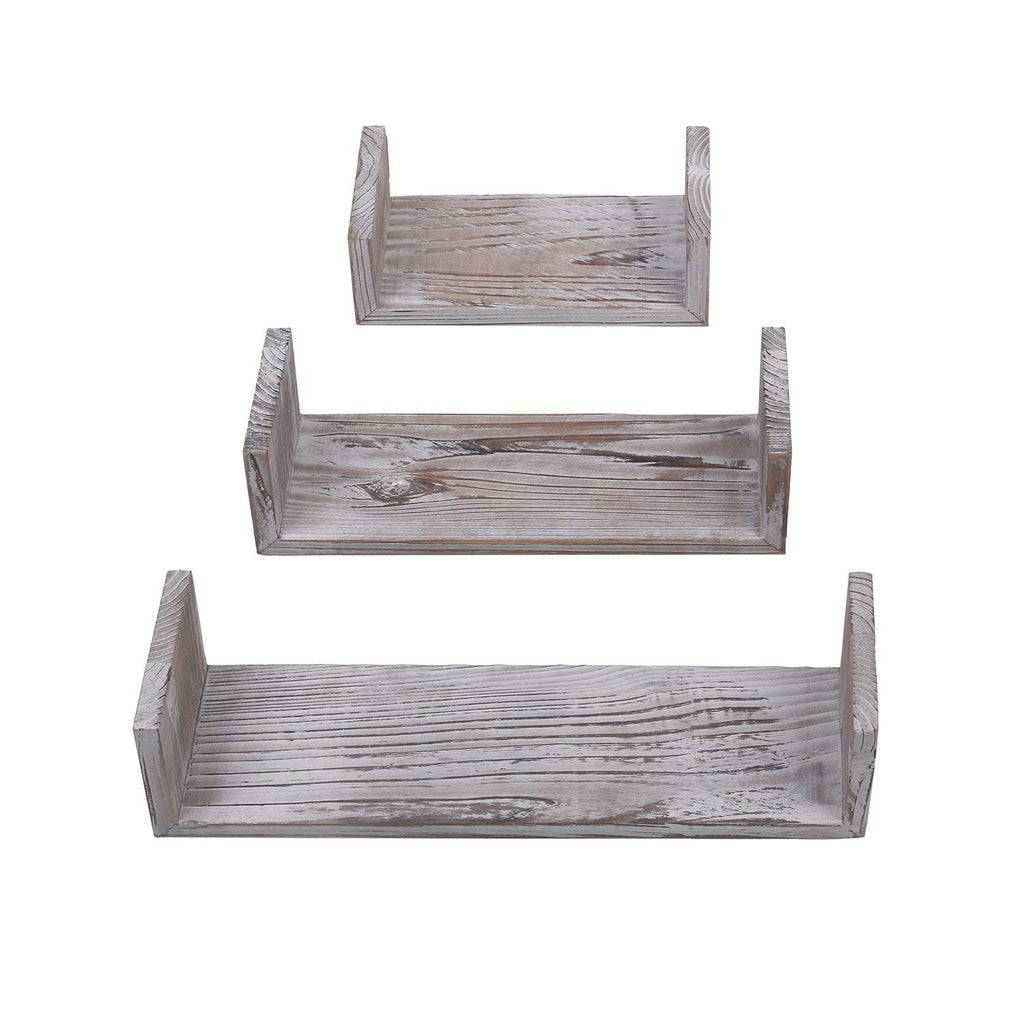 Yankario Rustic Floating Shelves Wall Mounted Set of 3, Torched Wood Farmhouse Storage Shelf for Bathroom, Kitchen, Bedroom, Living Room, Office and M