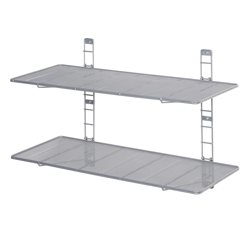 "Seville Classics 2-Tier Iron Mesh Adjustable Floating Wall Shelves, 36"" x 14"", Gray"