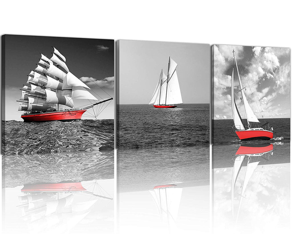 NAN Wind 3 Pcs Modern Giclee Canvas Prints Black and White with Red Umbrellas Romantic Couple Canvas Wall Art Red Landscape Paintings on Canvas Stretc