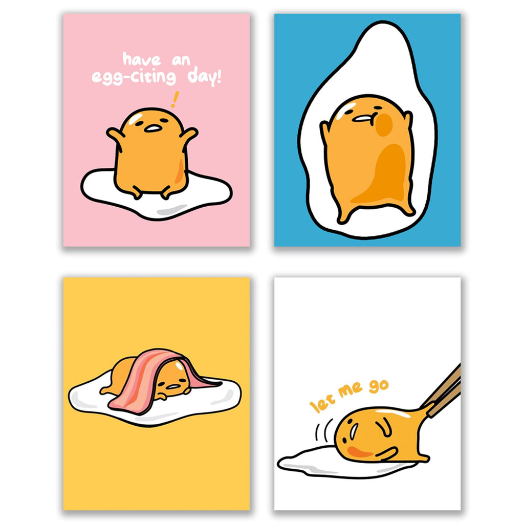 Crystal Gudetama the Lazy Egg Prints - Set of 4 (8x10) Funny Unmotivated Sanrio Mascot Colorful Wall Art Decor