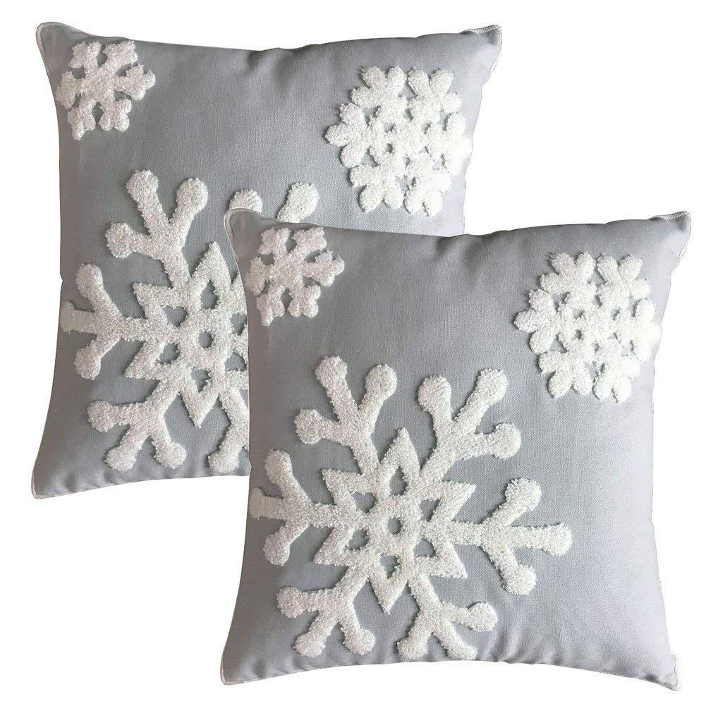 E.life Soft Square Christmas Snowflake Style Cotton Line Embroidery Throw Pillow Case Outdoor Cushion Cover Decorative 18x18