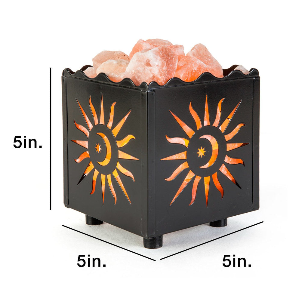 CRYSTAL DECOR Natural Himalayan Salt Lamp in Snowflake Design Metal Basket with Dimmable Cord