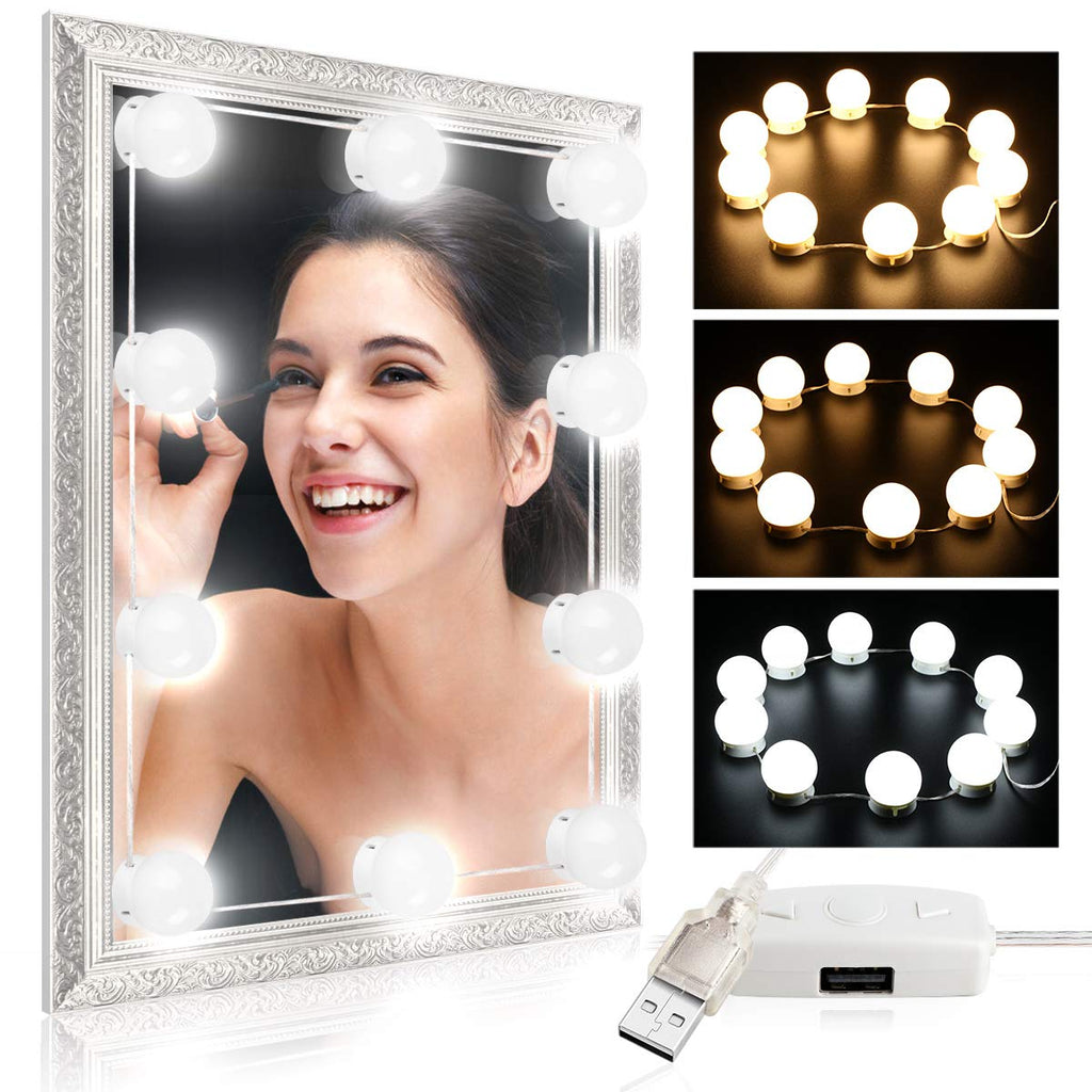 Hollywood Style Vanity Mirror Lights, Comkes LED Makeup Vanity Light Kit with 10 Cosmetic Dressing Bulb,USB Power Supply 7000K Dimmable Lighting Fixtu