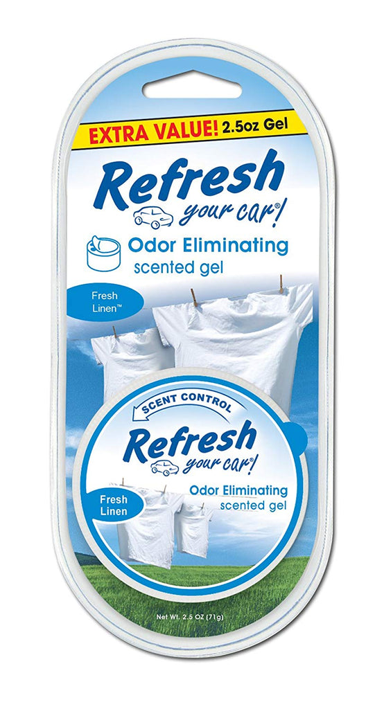 Refresh Your Car! E300878700 Scented Gel Can, 2.5 oz, Fresh Linen