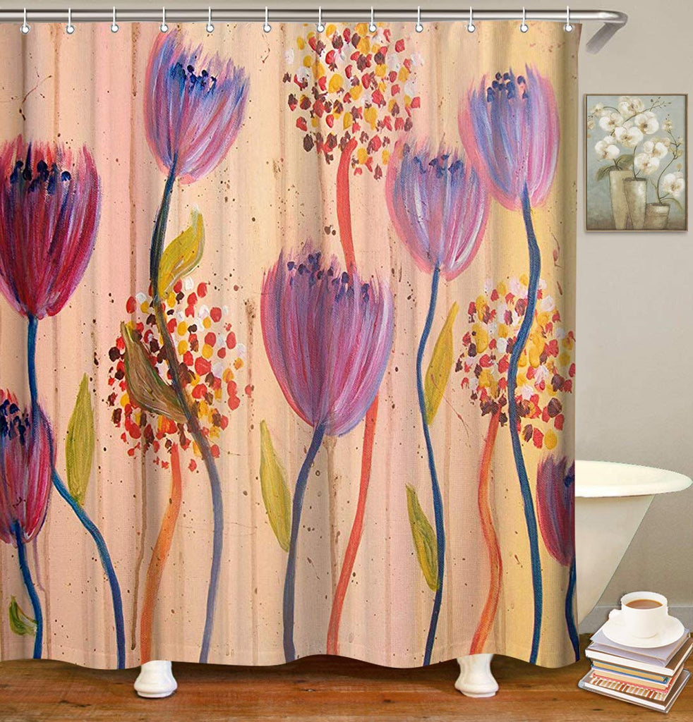 Livilan Floral Bathroom Curtain Shower Curtains Set with 12 Hooks Mildewproof Fabric Bath Curtain Home Decoration, 70.8