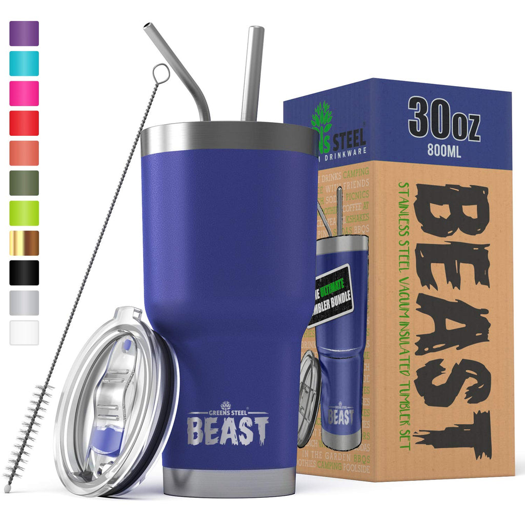 BEAST 30 oz. Tumbler With Straw - Stainless Steel Vacuum Insulated Coffee Cup Double Wall Travel Flask (30 oz, Lemongrass Green)