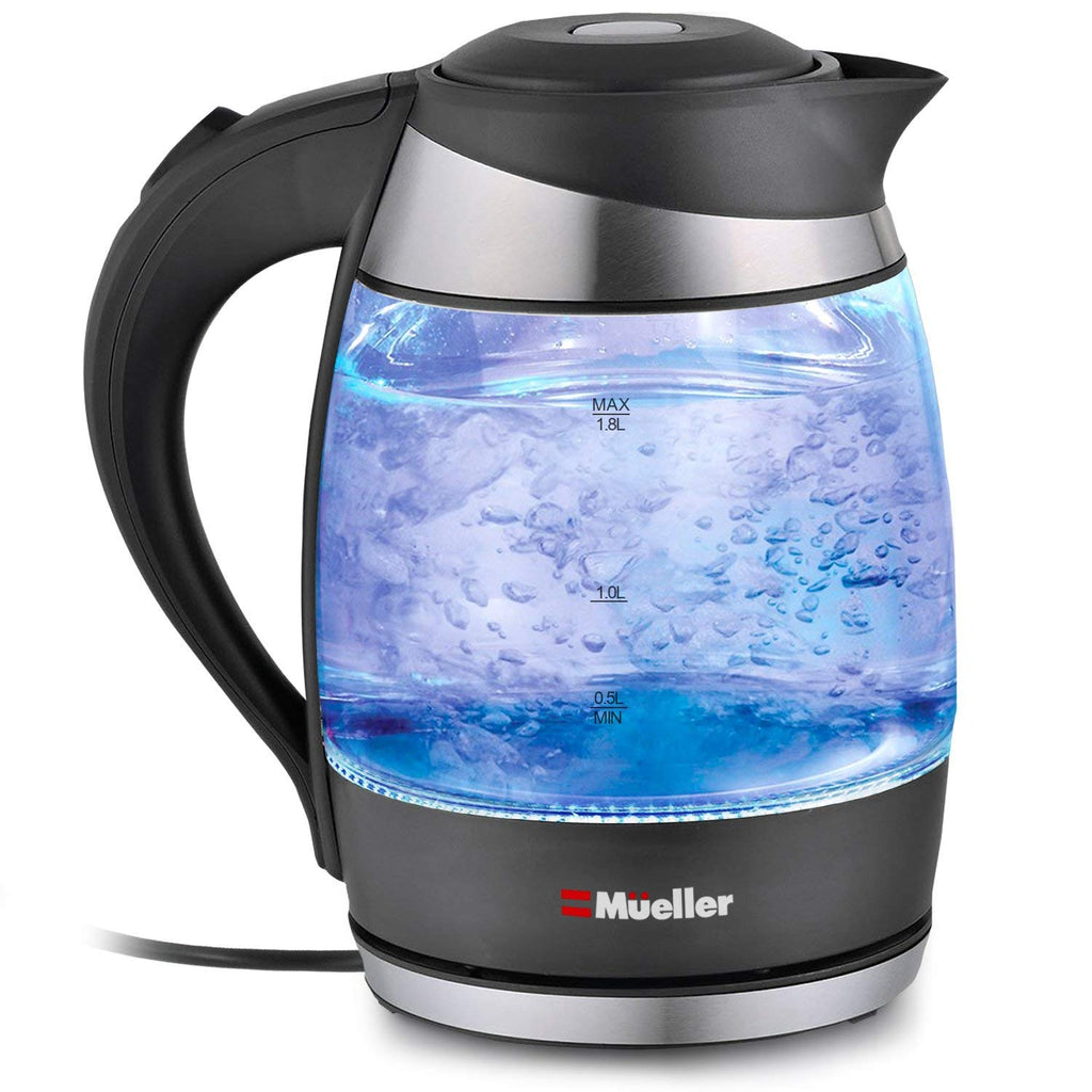 Mueller Austria Electric Kettle Water Heater with SpeedBoil Tech, Glass Tea, Coffee Pot 1.8 Liter Cordless with LED Light, Borosilicate BPA-Free with