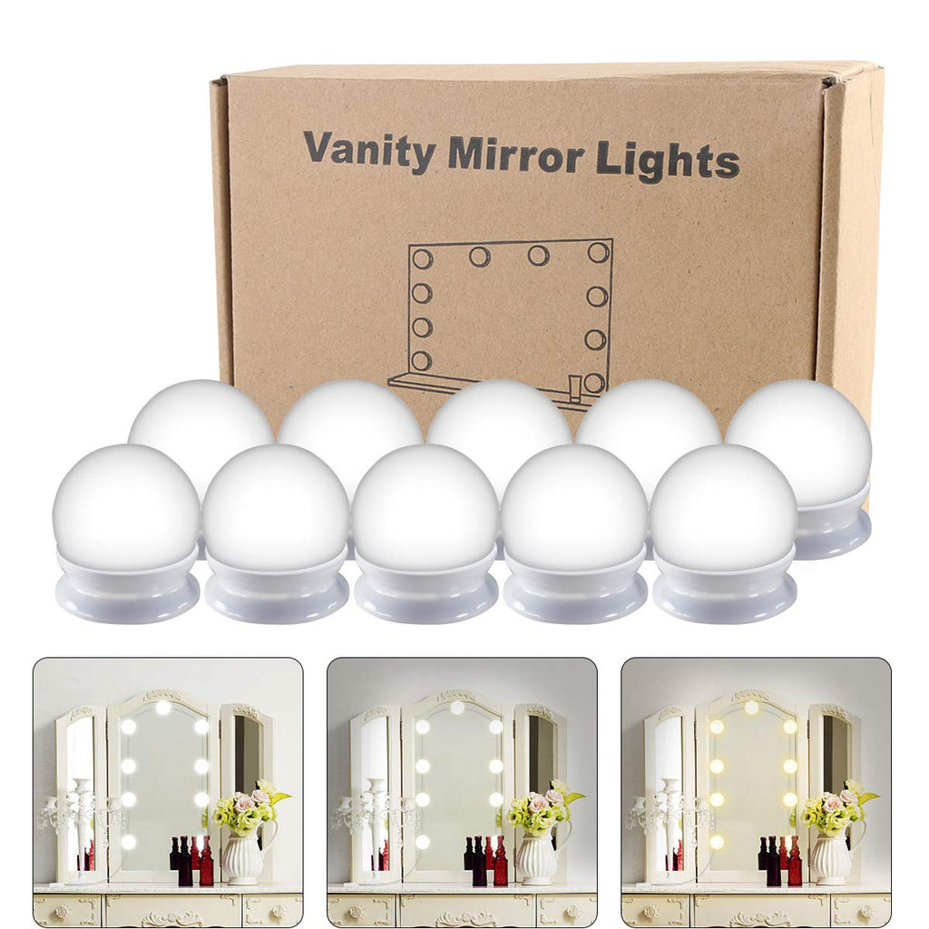 Hollywood Style LED Vanity Mirror Lights Kit, Vanity Lights Makeup Lighting Fixture Strip with 10 Dimmable Light Bulbs, Dimmer, USB Phone Adapter Char