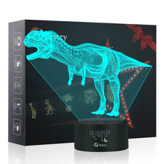Dinosaur 3D LED Night Light Table Desk Lamps, Elstey 3D Optical Illusion Visual Lamp 7 Colors Touch Table Desk Lamp for Christmas Gift
