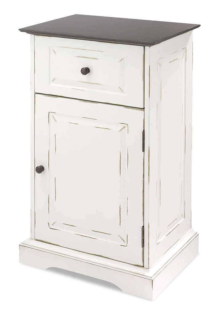 Whtmor Single Door Storage Cabinet, Chestnut & White
