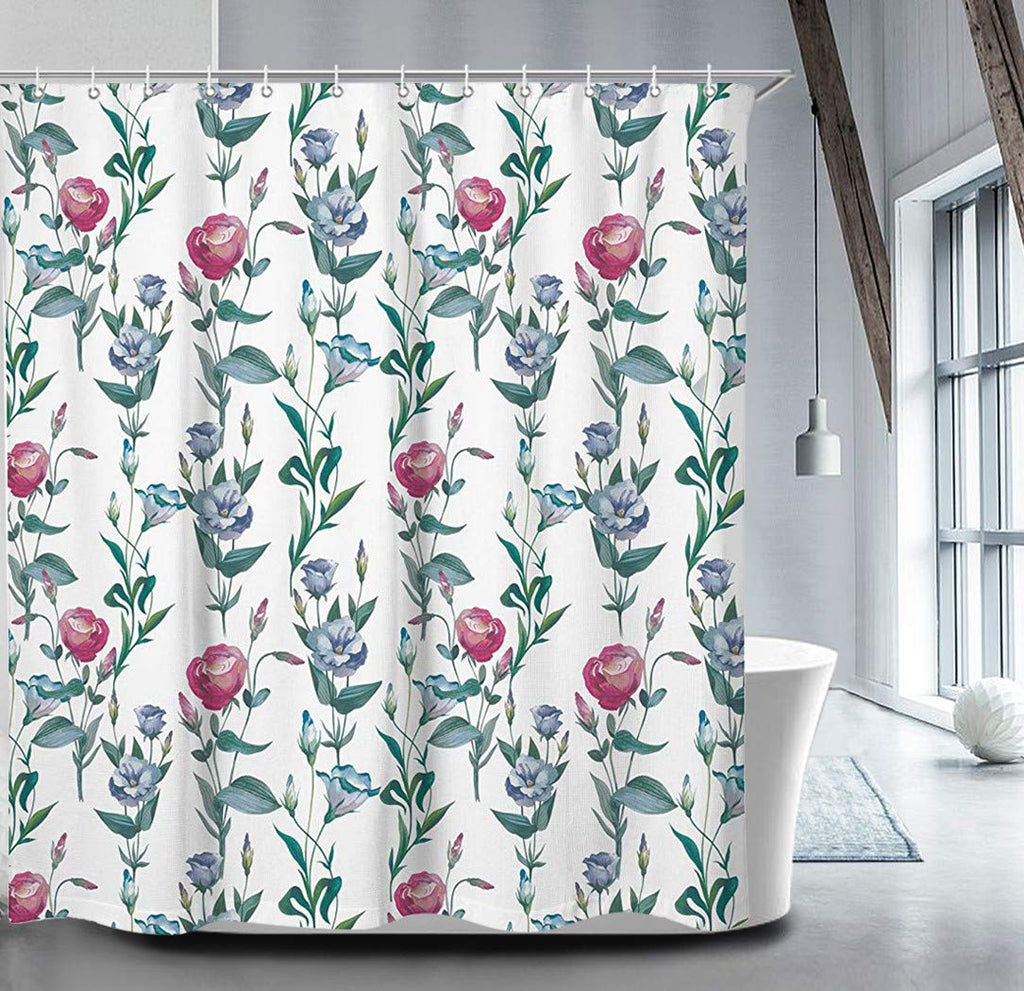 "Livilan Rose Floral Shower Curtain Set 70.8"" x 70.8"", Decorative Waterproof Quick Dry Thick Polyester Fabric Bathroom Curtain, Green Red"