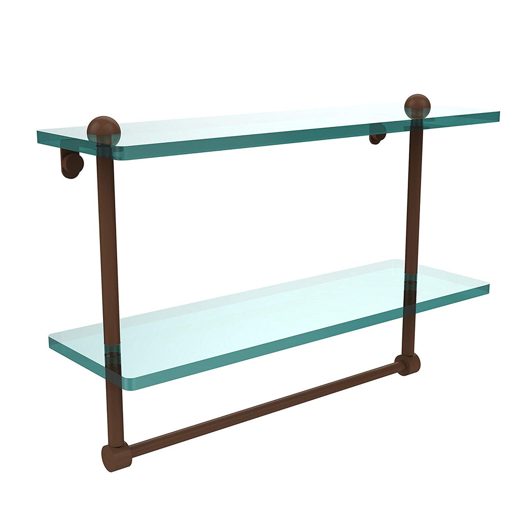 Allied Brass Two Tiered Glass Shelf Integrated Towel Bar