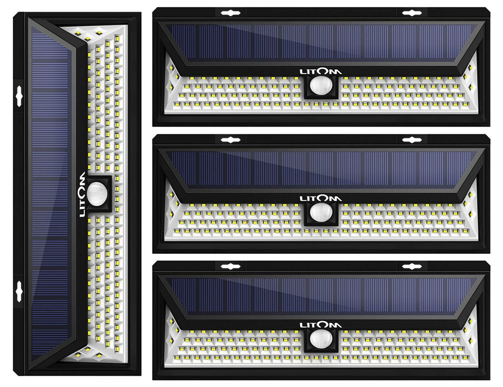 LITOM Enhanced 102 LED Super Bright Solar Lights Outdoor, Solar Motion Sensor Lights with 270°Wide Angle, IP65 Waterproof, Easy-to-Install Securit