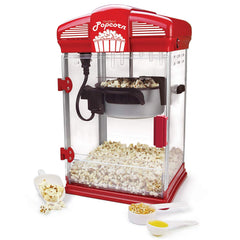West Bend 82515 Hot Oil Theater Style Popcorn Popper Machine Offers Nonstick Kettle Fast and Durable with Easy Clean Up, 4-Ounce, Red