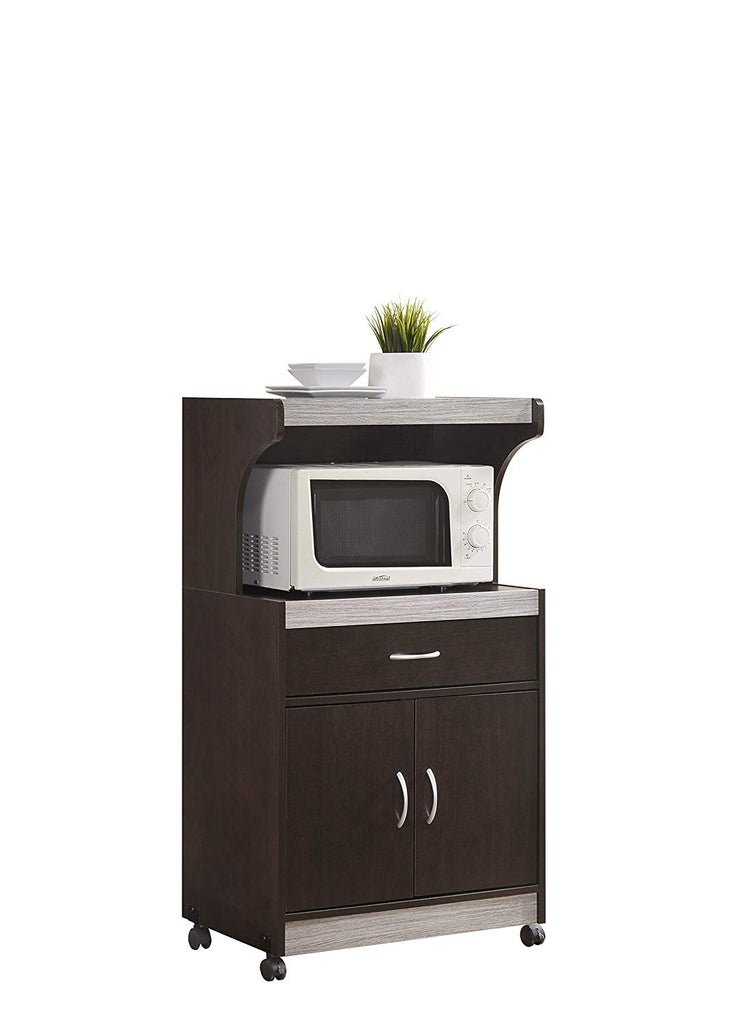 Hodedah Microwave Kitchen Cart, Chocolate-Grey