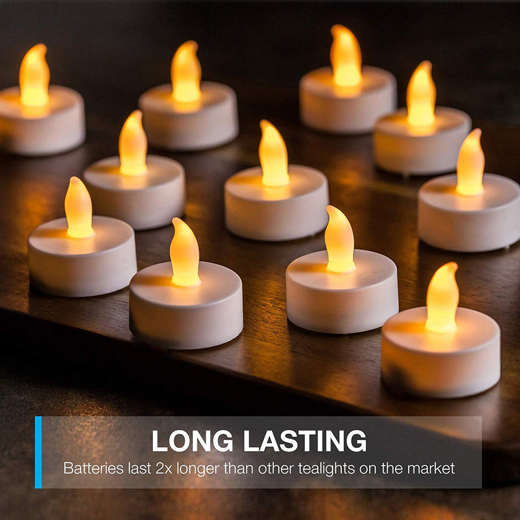 LED Tea Light Candles, Last 2X Longer, Gorgeous Flickering Flameless Candles, Battery Powered LED Candles, Bright, Unscented Tealights, Warm Glow, Per