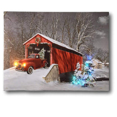 BANBERRY DESIGNS Red Truck Canvas Print - Christmas Canvas Print with LED and Fiber Optic Lights - Winter Scene Wall Art