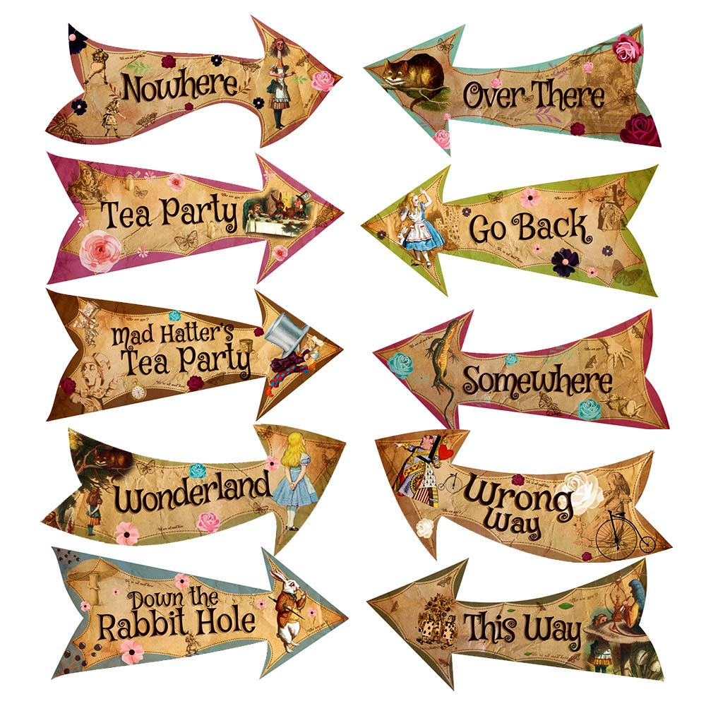 ASVP Shop Alice in Wonderland Party Vintage Style Arrow Signs / Mad Hatters Tea Party Props Pack of 10 Signs
