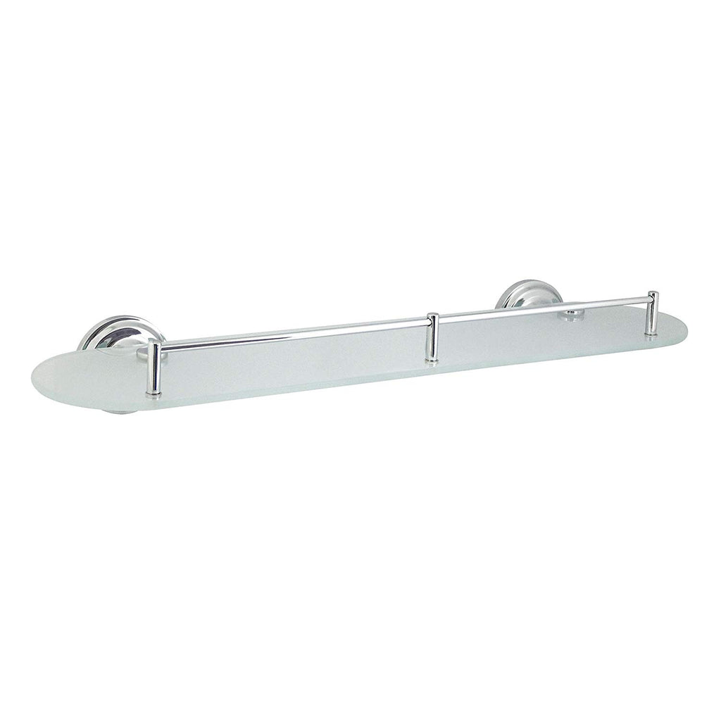 "MODONA 20"" Frosted Glass Shelf with Pre-Installed Rail - Polished Chrome - Viola Series - 5 Year Warrantee"